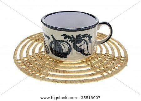 Ceramic Soup Bowl Woven Mat
