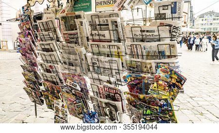 Trier, Germany- September 13 2019: German And International Magazines And Newspapers For Sale At A G