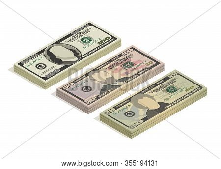 Stacks Of Hundred Dollars, Fifty Dollars And Twenty Dollar Bills. Paper Money, Pile Of 100, 50 And 2