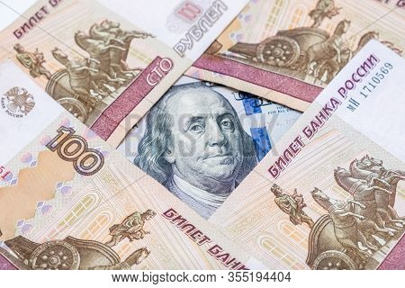 Russian Rubles Rub And American Dollars Usd Exchange Rate Concept, Ruble Devaluation And Financial L