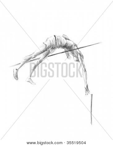 Hand-drawn Sketch, Pencil Illustration Athletes | Pole Vault | High Resolution Scan