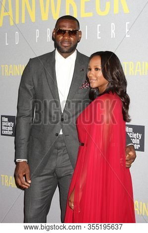 NEW YORK - JUL 14: LeBron James (L) and wife Savannah Brinson attend the world premiere of