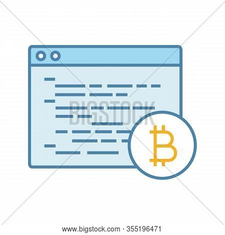 Bitcoin Mining Software Color Icon. Blockchain Coding. Crypto Mining Programming. Blockchain Develop