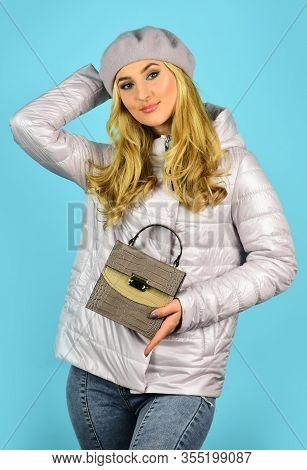 Handbag And Accessories. Trendy Girl Holding Small Leather Bag In Hand. Stylish Accessories. Beauty