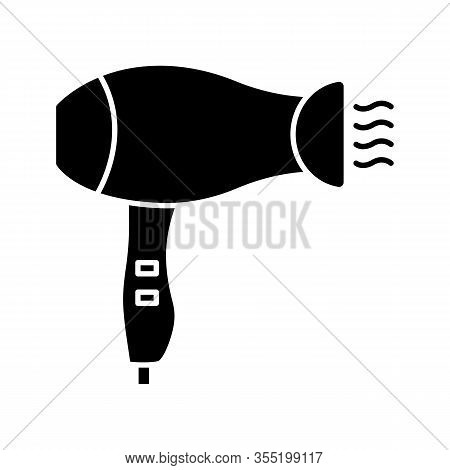 Hair Dryer Glyph Icon. Silhouette Symbol. Hotel Room, Beauty Salon Hair Blow Dryer. Negative Space.