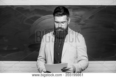Explaining Theory. College And High School. Prepare For Test. Teacher Bearded Man Hold Documents Cha
