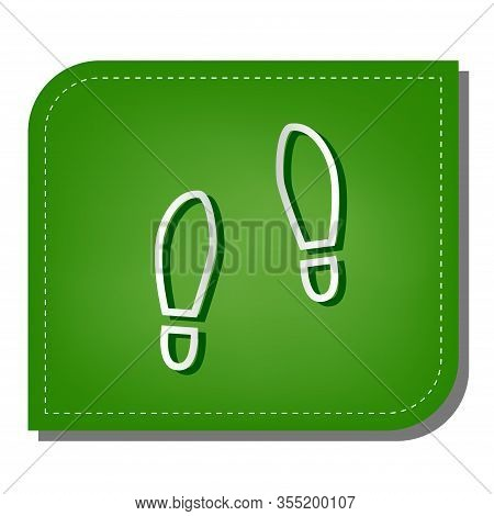 Imprint Soles Shoes Sign. Silver Gradient Line Icon With Dark Green Shadow At Ecological Patched Gre