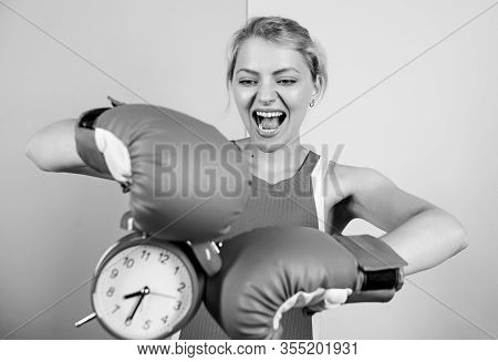 Fighting With Alarm Clock. Time To Fight. Time For Success. Win The Day. Angry Woman Boxing Gloves.
