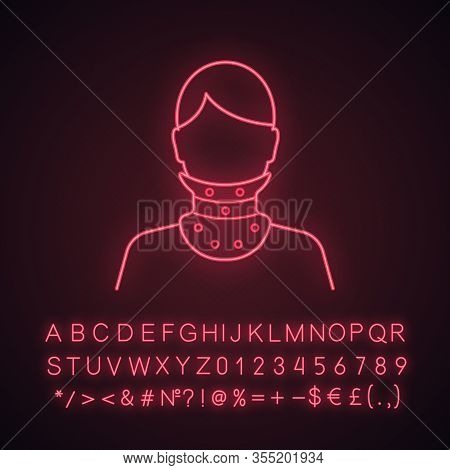 Cervical Collar Neon Light Icon. Neck Brace. Medical Neck Support. Glowing Sign With Alphabet, Numbe