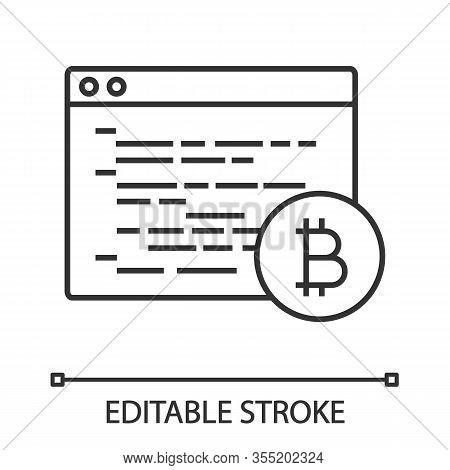 Bitcoin Mining Software Linear Icon. Blockchain Coding. Thin Line Illustration. Crypto Mining Progra