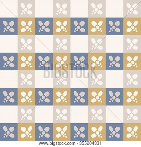 French Shabby Chic Daisy Stripevector Stripe Background. Kitchen Linen In Blue Yellow Off White Seam
