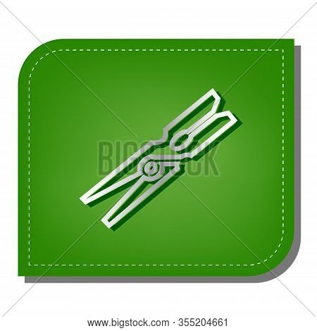 Clothes Peg Sign. Silver Gradient Line Icon With Dark Green Shadow At Ecological Patched Green Leaf.