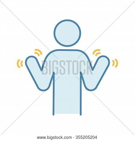 Hands Tremor Color Icon. Parkinsons Disease. Shaky Hands. Anxiety Tremor. Muscle Twitching. Tremblin