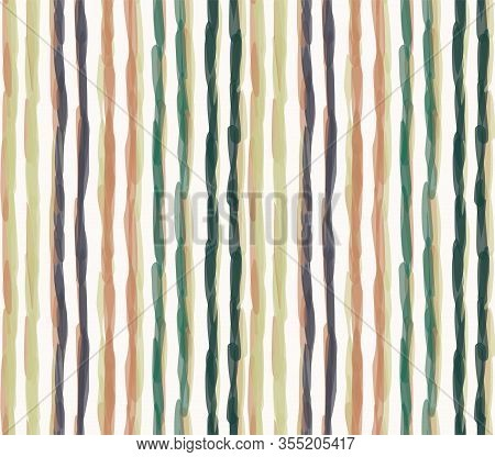 Watercolor Vector Stripe Background. Vertical Masculine Shirt Line Seamless Pattern. Hand Painted Wo