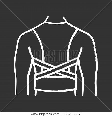 Posture Corrector Chalk Icon. Back Brace. Back Support. Orthopedic Thoracolumbar Corset. Posture Sup