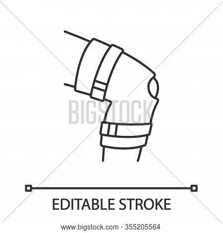 Knee Brace Linear Icon. Adjustable Leg Orthosis. Thin Line Illustration. Orthopedic Knee Joint Banda