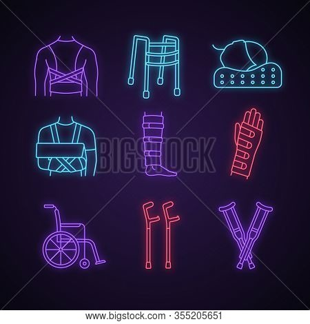 Trauma Treatment Neon Light Icons Set. Posture Corrector, Walker, Orthopedic Pillow, Shoulder Immobi