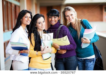 group of female multiracial college students portrait