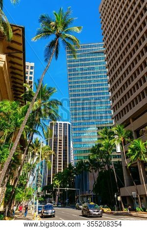 Street View In Downtown Honolulu, Oahu, Hawaii