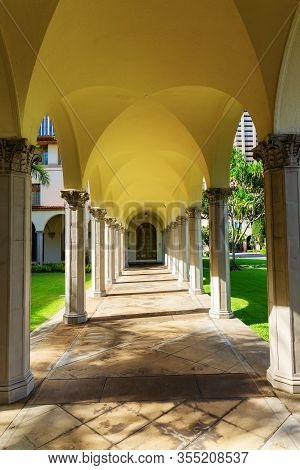 Arcade Of The Us Post Office In Downtown Honolulu, Oahu, Hawaii