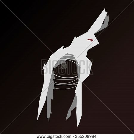 Cubism Rabbit With Red Eyes On A Gloomy Background