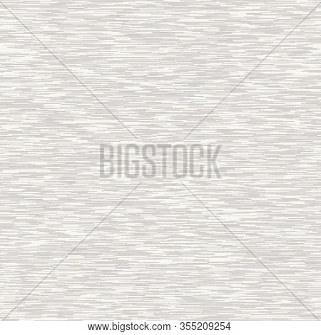 White Marl Heather Dense Rough Stripe Vector Texture Background. Broken T Shirt Woven Line On Ecru B