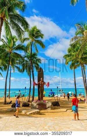 Duke Kahanamoku Statue At Waikiki Beach, Honolulu, Hawaii