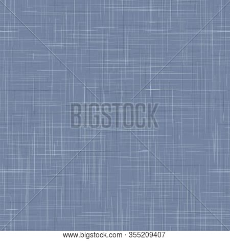 Worn French Blue Woven Linen Texture Background. Old Ecru Flax Fibre Seamless Pattern. Organic Yarn