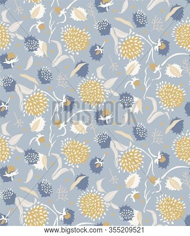 French Shabby Chic Floral Vector Texture Background. Dainty Flower In Blue Yellow On Off White Seaml