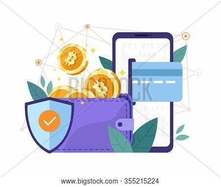 Vector Illustration Bitcoin Wallet Security. Investing In Bitcoin Wallet, Digital Cryptocurrency Blo