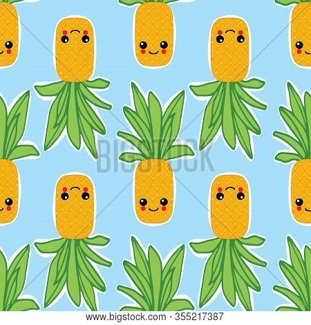 Summer Colorful Pineapple Textile Print.pineapple Background For Scrapbooking. Cute Vector Seamless