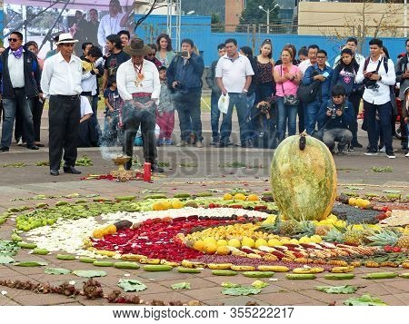 Cuenca, Ecuador - September 21, 2019: Chacana (andean Cross) Or Ceremony In Homage To Pachamama (mot