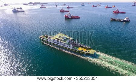 Labuan,malaysia-mar 21,2020:ro Ro Ferry Passenger Sailing To Menumbok,sabah With Background Of Labua