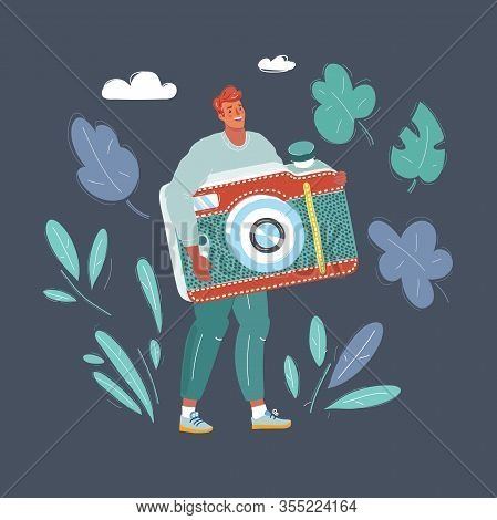 Illustration Of Man With Big Photocamera. Blogger, Photograph Concept.