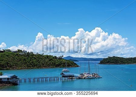 Airlie Beach, Queensland, Australia - March 2020: Whitsunday Bareboat Charters Boats Moored At Shute