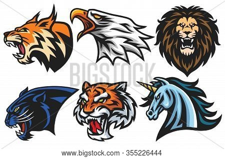 Wild Animals Heads Logo Mascot Set. Lion, Tiger, Jaguar, Lynx, Eagle, Unicorn - Vector Mascot Logo D