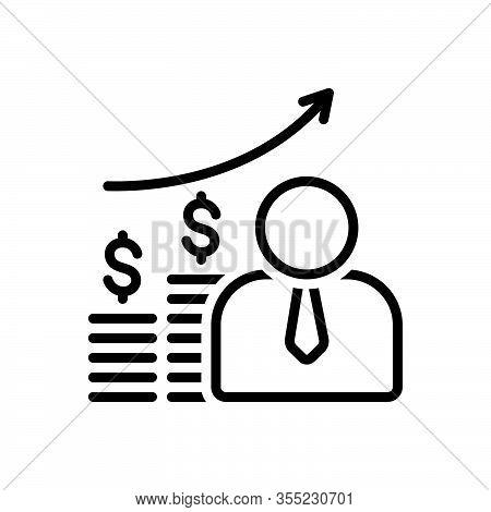 Black Line Icon For Economist Accountant Bank Banking Capitalist Finance Management Analysis