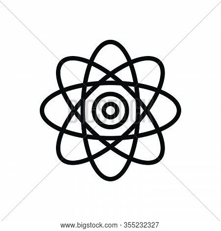 Black Line Icon For React Chemistry Circle Fusion Atom Atomic Nuclear