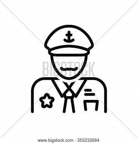 Black Line Icon For Captain Skipper Padrone Executive Director Leader Pilot Chieftain Nautical Perso