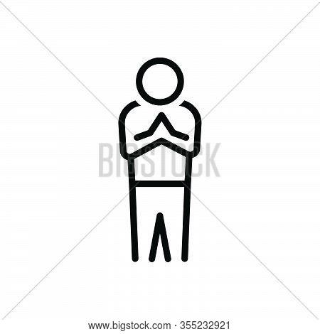 Black Line Icon For Manner Respect Regard Deference Reverence Honor Esteem Thanks