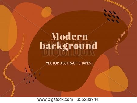 Modern Stylish Background With Organic Abstract Shapes And Line In Terracotta Colors. Contemporary T