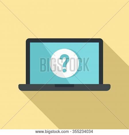 Laptop Password Request Icon. Flat Illustration Of Laptop Password Request Vector Icon For Web Desig