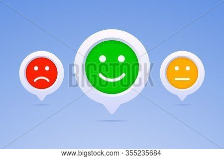 Color Emoticons In Three Color Options. Positive, Neutral And Negative Smiles On 3d Button. Vector I