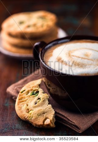 Cafe au lait and pistachio cookie poster