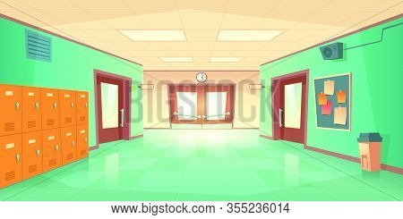 School Hallway Interior With Entrance Doors, Lockers And Bulletin Board On Wall. Vector Cartoon Illu