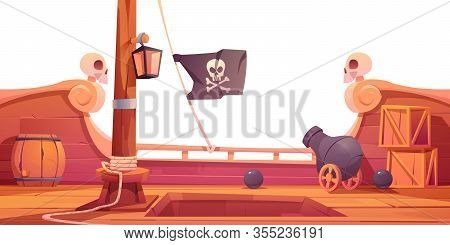 Pirate Ship Wooden Deck Onboard View, Boat With Cannon, Wood Boxes And Barrel, Hold Entrance, Mast W