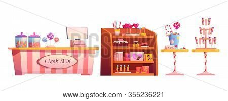 Candy Shop Empty Interior Furniture Set With Various Pastry, Cashier Desk, Shelf And Tables With Cho