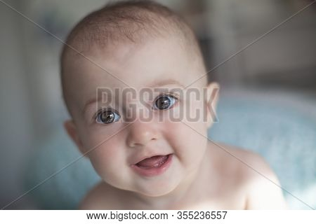 Portrait Of Adorable Smiling Baby. Cute Happy Baby