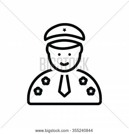 Black Line Icon For General Captain Skipper Padrone Executive Director Leader Pilot Chieftain Nautic