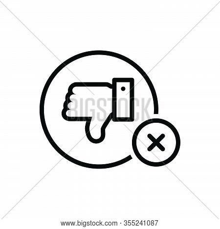 Black Line Icon For No Negative Refusal Rejection Thumbs-down  Unassertive Dislike Unlike Cancel